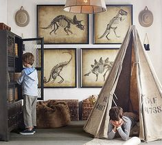 Boys would LOVE this dinosaur room. RH has some of the most inspiring kids room ideas! Bedroom Themes, Kids Bedroom, Kids Rooms, Boy Bedrooms, Young Boys Bedroom Ideas, Boys Playroom Ideas, Boys Bedroom Furniture, Playroom Design, Room Kids