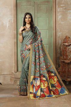 5409bc8a14 *Wow Collections* *Pen Kalamkari* *Beautiful Digital Printed Lilen Silk Kalamkari  Sarees
