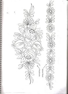 pattern for Bauernmalerei Border Embroidery Designs, Embroidery Flowers Pattern, Applique Patterns, Ribbon Embroidery, Floral Embroidery, Flower Patterns, Cross Stitch Embroidery, Doily Patterns, Embroidery Dress
