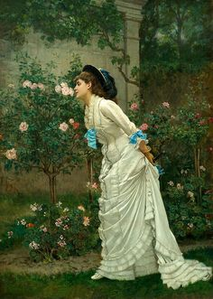 Auguste Toulmouche - Girl and Roses #art