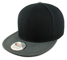 Blank Acrylic Two-Tone Snapback Cap - Black/Anthracite