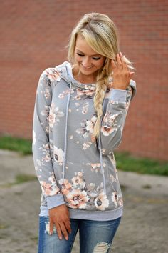 Floral Hoodie - Light Coral & Grey – The Pulse Boutique