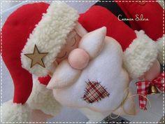 Papá Noel dormilón en fieltro con patrón - Marina Creativa