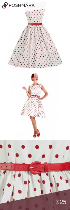 "Pin Up Clothing Dress Polka Dot White Lindy Bop ITEM #126 PRICE: $25 BUST: 37"" WAIST: 32"" CONDITION: USED. GOOD. NO RIPS OR STAINS. THE MATERIAL IS A THICK HIGH QUALITY FABRIC. LIKE UPHOLSTERY FABRIC. Lindy Bop Dresses"
