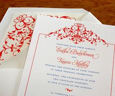 #Floral bordered #wedding invitations with matching envelope liners.