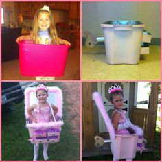 Ballerina in a Jewelry Box Halloween Costume DIY  Pink Spray Paint and Hot Glue Easy and Fast Allie-Gwyn Girl Costume -halloween -pink -jewerlry -costume jewelry -ballerina -tutu -diy