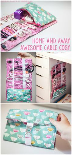 How to keep all of your cables and accessories organised, at home, or when travelling. Cute zipper and roll up bag to sew - free sewing pattern.