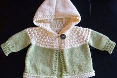 One Skein Hooded Baby Sweater - Free Pattern (Beautiful Skills - Crochet Knitting Quilting) Crochet Baby Cardigan Free Pattern, Baby Sweater Patterns, Knitted Baby Cardigan, Knit Baby Sweaters, Knitted Baby Blankets, Baby Patterns, Kids Knitting Patterns, Free Knitting, Pattern Sewing