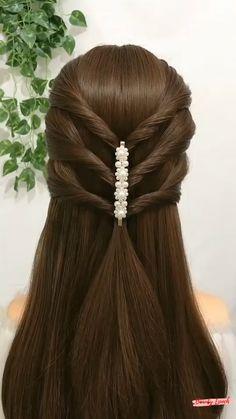 Hairstyles For Medium Length Hair Easy, Hair Tutorials For Medium Hair, Hairdo For Long Hair, Long Hair Video, Front Hair Styles, Short Hair Styles Easy, Medium Hair Styles, Hair Style Vedio, Hair Videos