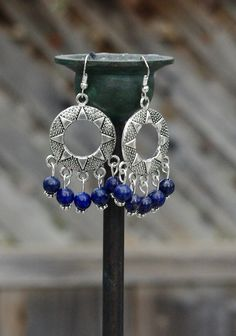 Lapis Lazuli  Chandelier Earrings  Tibetan Silver Sun   Boho