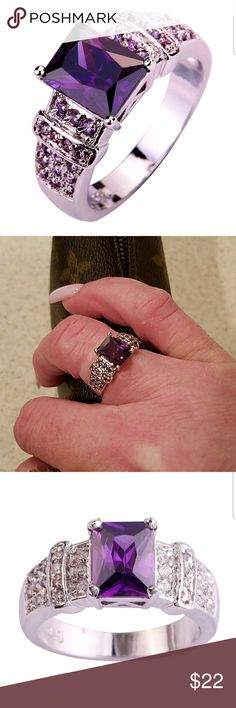 New Sterling Silver & Amethyst & CZ Ring Size 8 New Beautiful Sterling Silver Ring with a Lovely Amethyst Center Stone & CZ's everywhere on either side! This is the Perfect every day Ring, in my opinion. Not massive, yet Not super dainty, therefore making it an amazing graduation gift for that special neice, daughter, Cousin, friend, & more!!!  PLEASE USE OFFER FEATURE TO NEGOTIATE. THANKS! Jewelry Rings