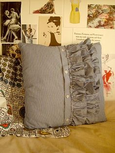 Old Shirt Cushion Cover: One Sided Ruffles.