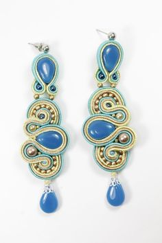 Soutache  blue, lemony,cream  earrings.