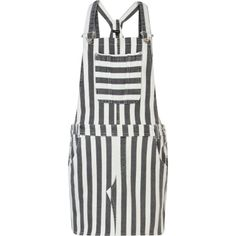 Grey stripe denim dungaree dress
