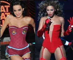 Katy Perry copies Wolford Neon 40 Tights from Beyoncé