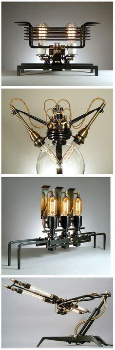the best of the vintage world and voilá! Here is the vintage lighting design to inspire you to have the best lighting you deserve. Lampe Steampunk, Steampunk Gadgets, Steampunk House, Steampunk Design, Steampunk Diy, Steampunk Clothing, Vintage Lighting, Cool Lighting, Lighting Design