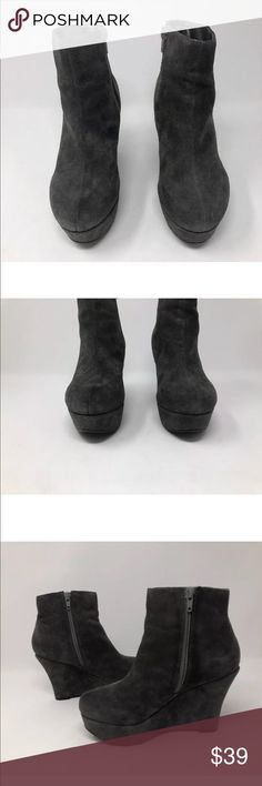 """Steve Madden Suede Leather Platform Wedge Heel * Steve Madden Gray Suede Leather Platform Wedge Heel Ankle Boots Booties  * Excellent Condition!  * Heel is about 3.75"""", platform about 1.5""""  ** Size 6   ** Please check my other  listings** Steve Madden Shoes Ankle Boots & Booties"""