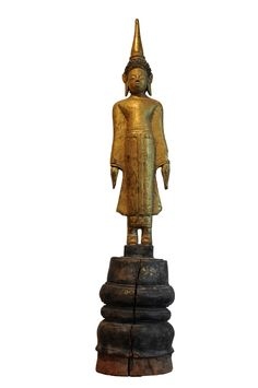 Wooden standing Buddha. Laos, 18th century, made of wood. For more information about this and other amazing Asian/Buddhist antique products, please visit our website: www.sat-nam-art.com Standing Buddha, Made Of Wood, 18th Century, Laos, Asian, Statue, Website, Antiques, Amazing