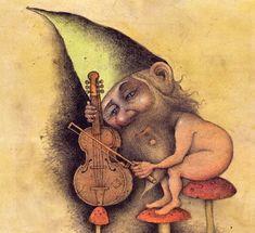 Wayne Anderson - from Gnomes & Gardens Wayne Anderson, Folk, Drawings, Illustration, Artist, Painting, Gardens, Sweet, Elves