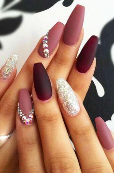 30 perfect pink nail art designs ideas for christmas NAILS Maroon Nail Designs, Cute Nail Art Designs, Acrylic Nail Designs, New Nail Designs, Elegant Nail Designs, Nail Design Glitter, Nails Design With Rhinestones, Glitter Nails, Gel Nails