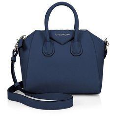 Givenchy Antigona Mini Leather Satchel ($1,825) ❤ liked on Polyvore featuring bags, handbags, apparel & accessories, black, leather satchel, leather satchel handbags, blue purse, blue leather purse and genuine leather purse