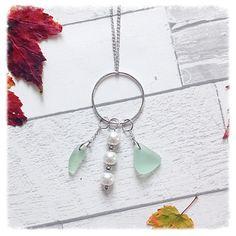 Beautiful Sea glass pendant - sea foam sea glass - sea glass and pearls pendant
