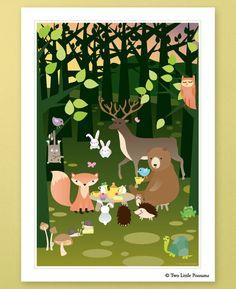 Nursery Art / Children's Decor - Forrest Friends Tea Party. $12.00, via Etsy.