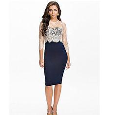 vestido de la oficina elegante del vendaje del bodycon midi delgado lápiz de encaje de manga larga de belleza oficina vestido de la señora 9275 – USD $ 14.99