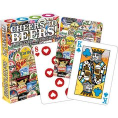 Take drinking games to a whole new level with NMR's Cheers to Beers themed deck of playing cards. Challenge Games, Drinking Games, Card Games, Playing Cards, Cheers, Deck, Gifts, Products, Presents