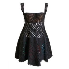 Exclusive: AZZEDINE ALAIA suede laser cut dress with colored fringe (via @1stdibs)