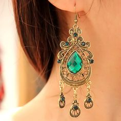 Vintage Europe Palace Fashion Green Crystal With Tassel Drop Earrings -USD $16.95