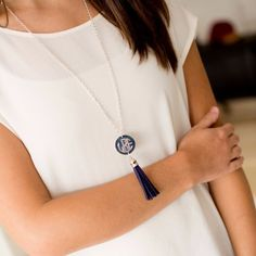 Navy Tassel - Personalized Engraved Disc Necklace | Perfect for TEACHERS GIFTS | Driftwood Market