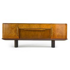 Osvaldo Borsani; Walnut, Burl Wood, Sycamore, Brass and Glass Sideboard, 1930s.