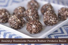 Healthy Chocolate Peanut Butter Protein Balls - A Sparkle of Genius but I would use my Idealshake