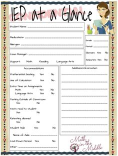 IEP at a Glance - This is a great classroom resource for the classroom teacher. A lot of Special Education teachers complete this and give it to their teachers. Teacher Organization, Teacher Tools, Teacher Resources, Teacher Binder, Organized Teacher, Iep Binder, Teacher Notebook, Teacher Hacks, Teacher Stuff
