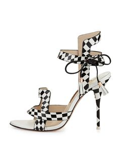 Resort Shoes at Neiman Marcus Black And White Shoes, Black White Fashion, Black Sandals, Leather Sandals, Sophia Webster, Beautiful Shoes, Neiman Marcus, Monochrome, Poppies