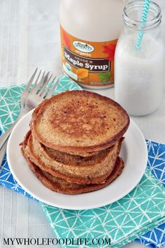 Get in some extra protein with these healthy and kid friendly Snickerdoodle Pancakes. Vegan and gluten free. Make a big batch and freeze for busy mornings