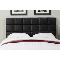 Enhance your bedroom with this stylish interchangeable full/queen-size headboard that features square detail tufted stitching. The headboard can be adjusted in heights according to your needs and comes in a beautiful black bonded leather.