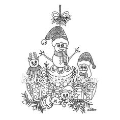 Instant Digital Download - Christmas Coloring Page - Cat, Snowman, Dog Christmas Coloring Pages, Christmas Colors, Adult Coloring Pages, All Art, Zentangle, Snowman, Black And White, Digital, Cats