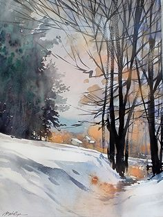 Christmas Day - Ohio 2013 by Thomas W. Schaller Watercolor ~ 24 inches x 18 inches