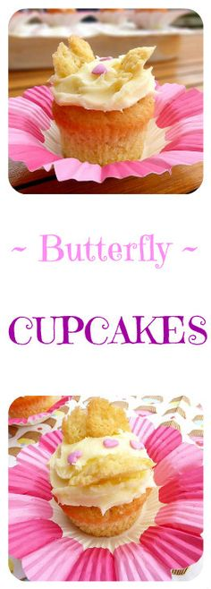 Butterfly Cakes with Strawberry Jam and Cream Cheese Frosting