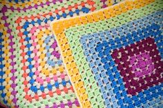 Granny Square cushion fronts from Hilly Town Blue