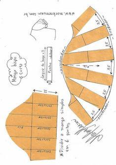 Formas de transformar el patrón para las mangas - Patrones gratis Source by VEJA MAIS Formas de transformar el patrón para las mangas - Patrones gratis, # ✂❤ Sewing Dress, Sewing Sleeves, Dress Sewing Patterns, Sewing Clothes, Clothing Patterns, Sewing Coat, Skirt Patterns, Coat Patterns, Blouse Patterns