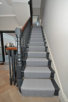 Berwick - Sergeant Grey Field with Carter Stair Rods - Off The Loom Stair Banister, Foyer Staircase, Staircase Makeover, Stair Rods, Staircase Design, Stair Runner Rods, Banisters, Stair Runners, Staircase Carpet Runner