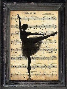 Print Art Ballet Ballerina Collage Mixed Media Poster Ilustration Vintage: