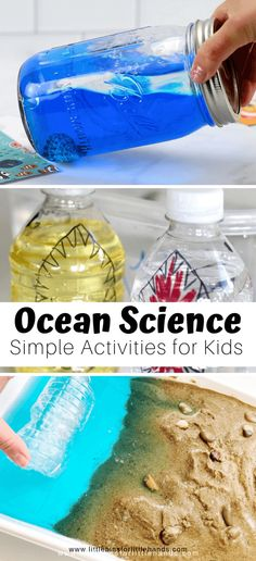 Ocean science activities for kindergarten and preschool ocean theme and beach learning. Make ocean slime, beach discovery bottles, sand slime, wave bottles, measure shells, grow crystal seashells, and more summer science ideas for kids. Check out this big list of ocean related activities that involve hands on STEAM learning, perfect for elementary aged kids. This is a great resource for parents, summer school and day care providers! Science Week, Summer Science, Science For Kids, Science Ideas, Science Experiments, Science Fun, Physical Science, Earth Science, Science Education