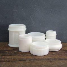 6 Milk Glass Cosmetic Jars Collection, Hazel Atlas, Pond's, Resinol, Musterole, Milk Glass Collection, Farmhouse Decor