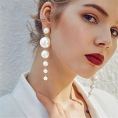 "Universe of goods - Buy ""Trendy Elegant Created Big Simulated Pearl Long Earrings Pearls String Statement Drop Earrings For Wedding Party Gift for only USD. Long Tassel Earrings, Hanging Earrings, Pearl Drop Earrings, Chandelier Earrings, Statement Earrings, Dangle Earrings, Silver Earrings, Pearl Beads, Gothic Earrings"