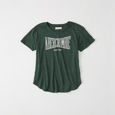 Abercrombie & Fitch Logo Graphic Tee ($14) ❤ liked on Polyvore featuring tops, t-shirts, green, crewneck tee, crew-neck tee, green tee, crew neck tee and logo design t shirts
