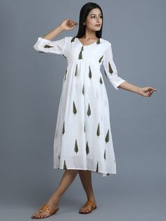 Green Off White Hand Block Printed Cotton Dress